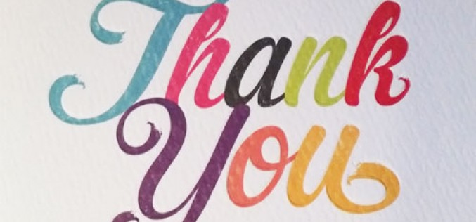 A 'Thank You' card from author Vivian French
