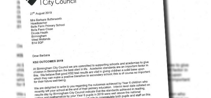 Letter from Birmingham City Council on KS2 performance